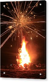 Giant Birthday Cake With Fireworks On Top Acrylic Print by Dave Brooksher