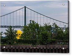 Giant Yellow Duck Walt Whitman Bridge Philly Acrylic Print by Terry DeLuco