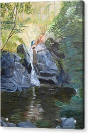 Acrylic Print featuring the painting Gibbs Falls by Linda Feinberg