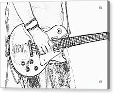 Gibson Les Paul Guitar Sketch Acrylic Print by Randy Steele