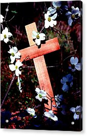 Gift Cross And Dogwood Acrylic Print