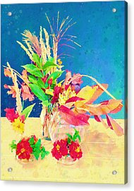 Acrylic Print featuring the digital art Gifts From The Yard Watercolor by Christina Lihani