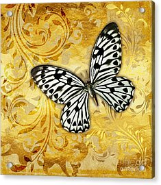 Gilded Garden A Butterfly Amidst Golden Floral Shapes Acrylic Print by Tina Lavoie