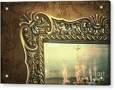 Gilded Mirror Reflection Of Chandelier Acrylic Print by Sandra Cunningham