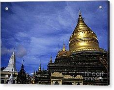 Gilded Stupa Of The Shwezigon Pagoda In Bagan Acrylic Print by Sami Sarkis