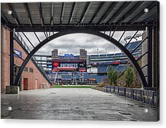 Gillette Stadium And The Four Super Bowl Banners Acrylic Print