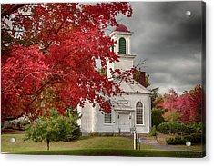 Gilmanton Church Under Fiery Fall Colors Acrylic Print by Jeff Folger