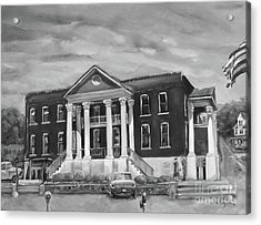 Gilmer County Old Courthouse - Black And White Acrylic Print