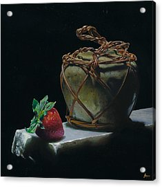 Ginger Jar And Strawberry Acrylic Print by Jeffrey Hayes