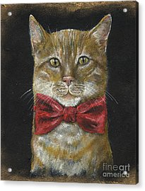 Ginger Kitty In Red Bowtie Acrylic Print