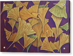 Gingko Flurry Acrylic Print by Joann Renner