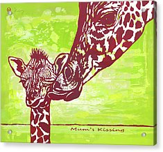 Mum's Kissing - Giraffe Stylised Pop Art Poster Acrylic Print