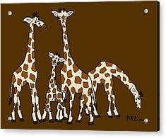 Giraffe Family Portrait Brown Background Acrylic Print
