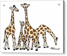 Giraffe Family Portrait In Brown And Beige Acrylic Print