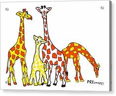 Giraffe Family Portrait In Orange And Yellow Acrylic Print