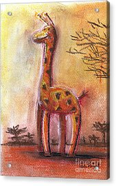 Giraffe For Children Pastel Chalk Drawing Acrylic Print