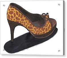 Acrylic Print featuring the drawing Giraffe Heels by Jean Haynes