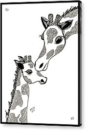 Giraffe Mom And Baby Acrylic Print
