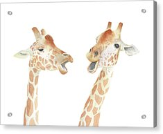Acrylic Print featuring the painting Giraffe Watercolor by Taylan Apukovska