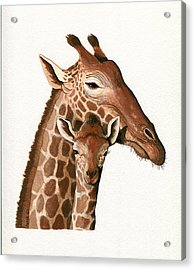 Giraffe- Protect Our Children Wildlife Painting Acrylic Print by Linda Apple