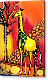 Giraffe With Fire  Acrylic Print