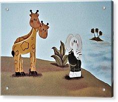 Giraffes, Elephants And Palm Trees Acrylic Print