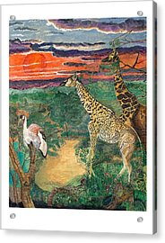 Giraffe's Gallop Acrylic Print by Everna Taylor