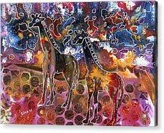 Giraffes Acrylic Print by Sima Amid Wewetzer