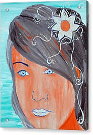 Acrylic Print featuring the painting Girl 12 by Josean Rivera