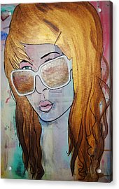 Acrylic Print featuring the painting Girl 16 by Josean Rivera