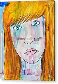 Acrylic Print featuring the painting Girl 17 by Josean Rivera