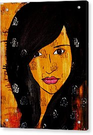 Acrylic Print featuring the painting Girl 3 by Josean Rivera