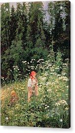 Girl Among The Wild Flowers Acrylic Print by Olga Antonova Lagoda Shishkina