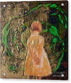 Girl And A Beanstalk  Acrylic Print by Michaela Kraemer