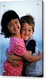 Girl And Boy Embracing Acrylic Print by Sami Sarkis