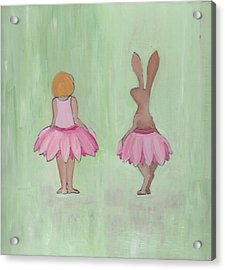 Girl And Bunny In Pink Tutus Acrylic Print
