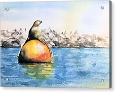 Girl And Buoy Acrylic Print by Debbie Lewis
