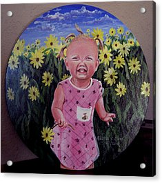 Girl And Daisies Acrylic Print by Ruanna Sion Shadd a'Dann'l Yoder