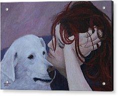 Girl And Dog Acrylic Print