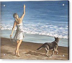Acrylic Print featuring the painting Girl And Dog by Natalia Tejera