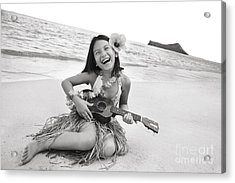 Girl And Her Ukulele Acrylic Print by Brandon Tabiolo - Printscapes