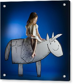 Girl And Her Unicorn Acrylic Print