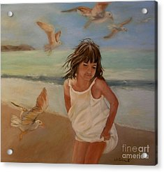 Girl And The Seagulls Acrylic Print by Ceci Watson
