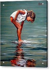 Girl At Shore  Acrylic Print