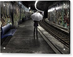 Girl At Subway Station Acrylic Print by Joana Kruse