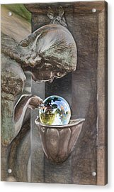 Girl At The Fountain Acrylic Print