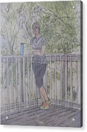 Acrylic Print featuring the painting Girl At The Mountain Top by Joel Deutsch