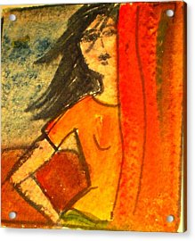 Girl Behind The Curtain Acrylic Print by Maria Rosaria DAlessio