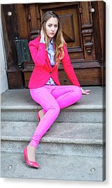 Girl Dressing In Pink Acrylic Print