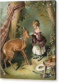 Girl Feeding A Deer Acrylic Print